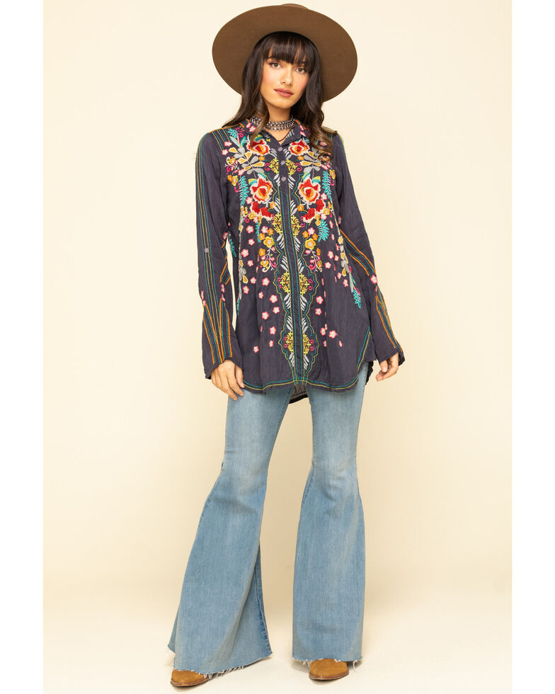 Johnny Was Women's Charcoal Embroidered Lyndsey Tunic, Charcoal, hi-res