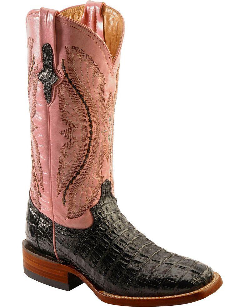 Ferrini Women's Hornback Caiman Crocodile Western Boots, Black, hi-res