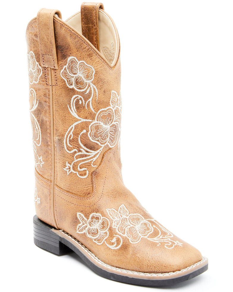 Shyanne Girls' Little Lasy Western Boots - Wide Square Toe, Tan, hi-res