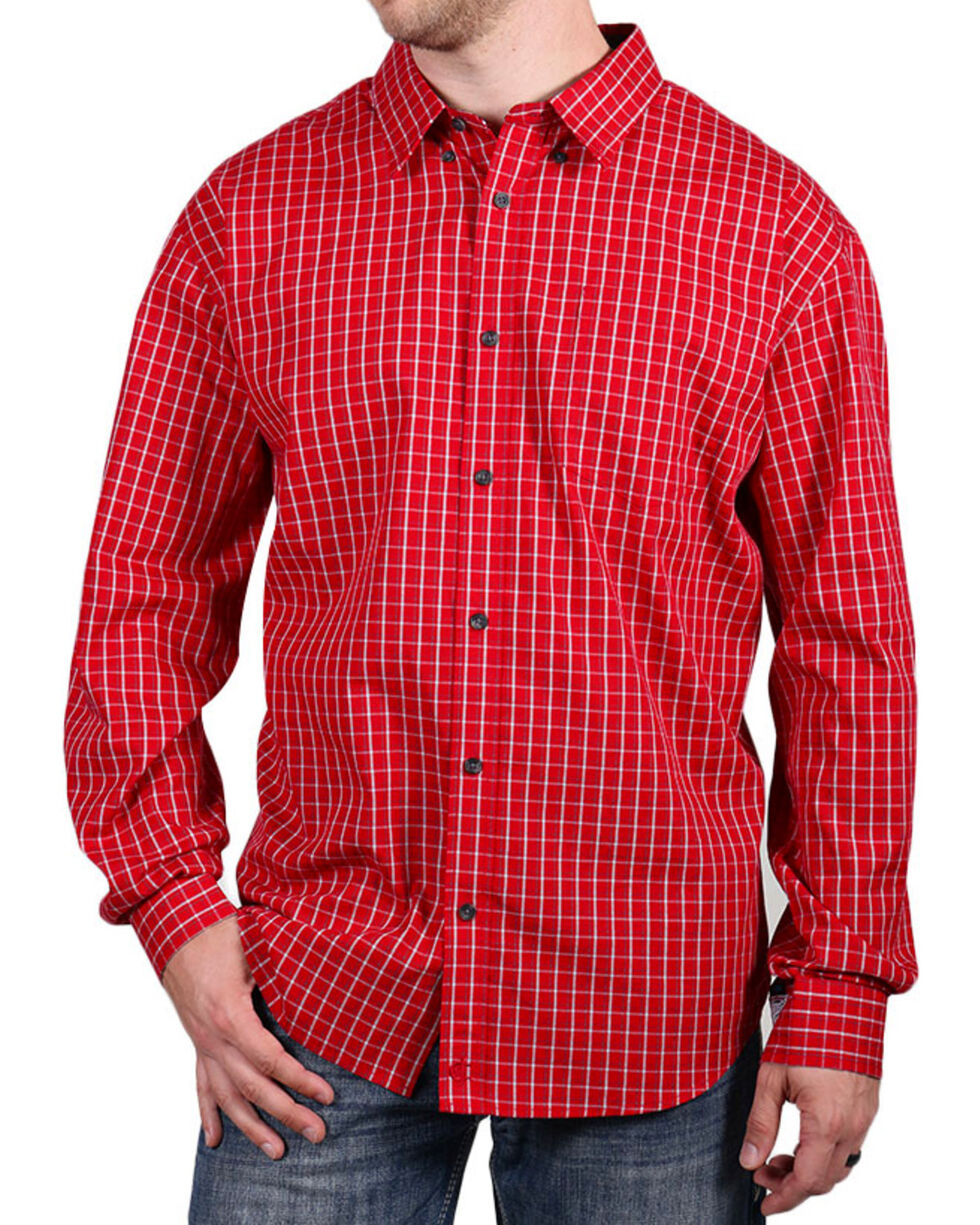 Cody James Core Men's Checkered Long Sleeve Shirt, Red, hi-res