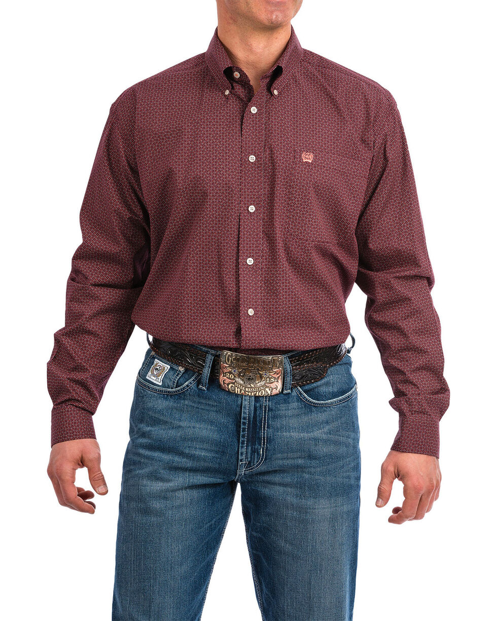 Cinch Men's Men's Purple Geo Print Long Sleeve Western Shirt , Purple, hi-res
