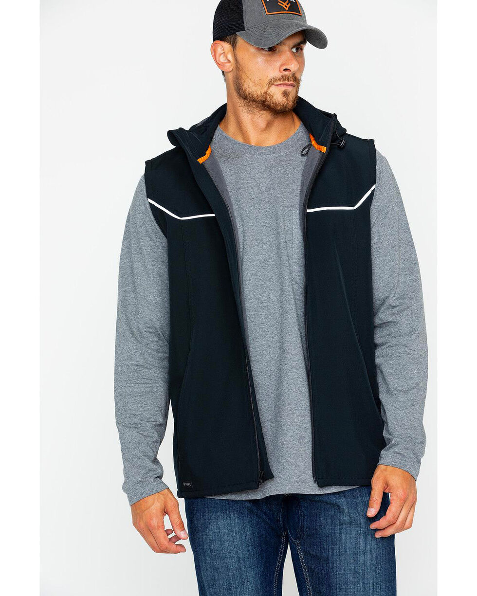 Hawx® Men's Hooded Soft-Shell Work Vest - Big & Tall , Black, hi-res