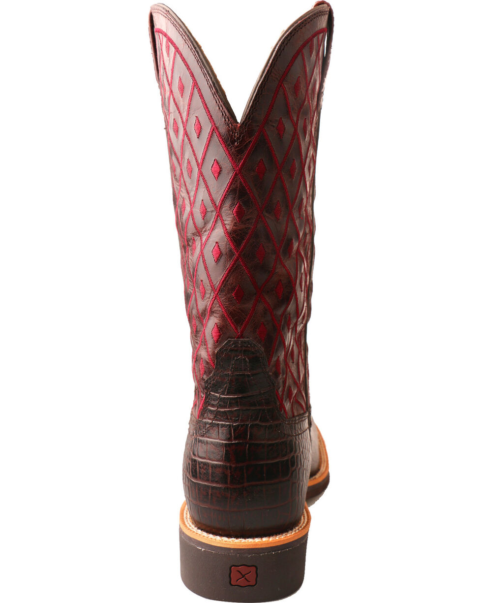 Twisted X Women's Top Hand Caiman Print Cowgirl Boots - Square Toe, Dark Brown, hi-res