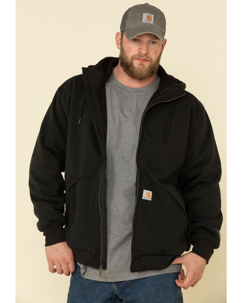 Carhartt Men's Rain Defender Thermal Lined Zip Hooded Work Sweatshirt, Black, hi-res