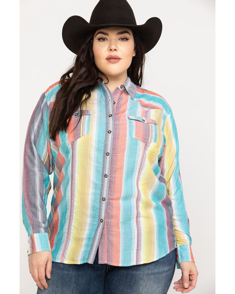 b4565c24 Zoomed Image White Label by Panhandle Women's Serape Challis Button Up Long  Sleeve Shirt - Plus, Multi