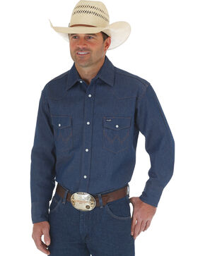 Wrangler Cowboy Cut Rigid Denim Western Work Shirt - Big & Tall , Blue, hi-res