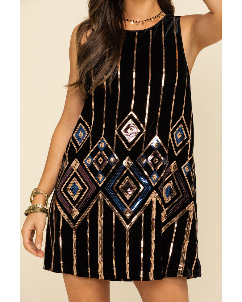Miss Me Women's Black Velvet Sequin Tank Dress, Black, hi-res