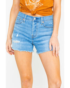 Levis Women's Big City Lights High Rise Light Raw Hem Denim Shorts , Blue, hi-res