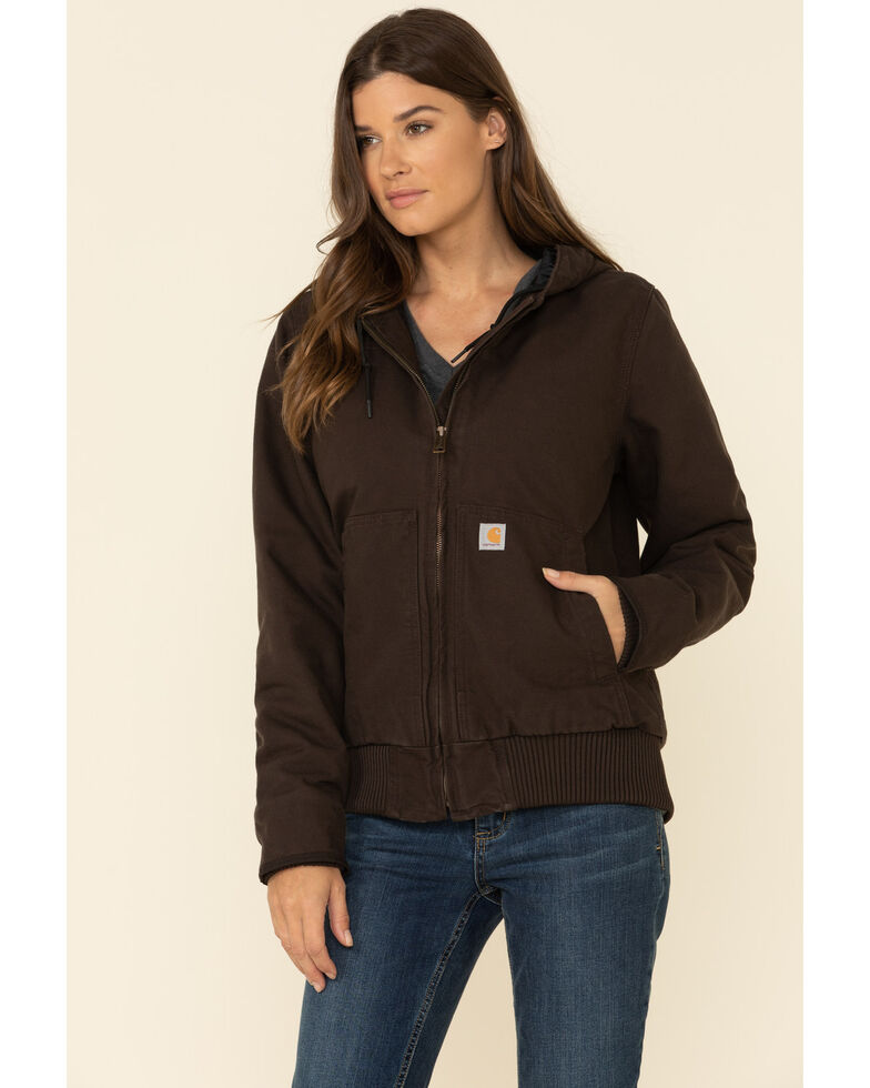 Carhartt Women's Dark Brown Washed Duck Active Jacket, Dark Brown, hi-res