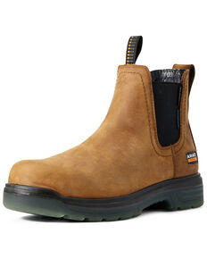 Ariat Men's Waterproof Turbo Chelsea Work Boots - Carbon Toe, Brown, hi-res