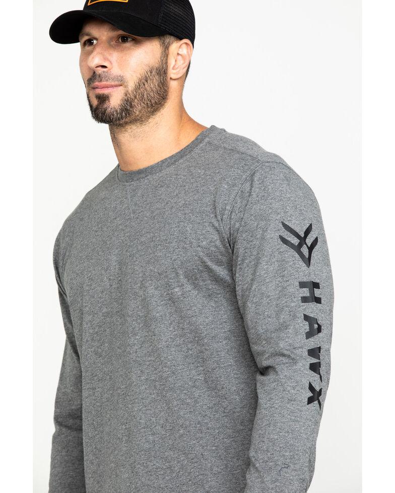 Hawx Men's Grey Logo Long Sleeve Work T-Shirt , Heather Grey, hi-res