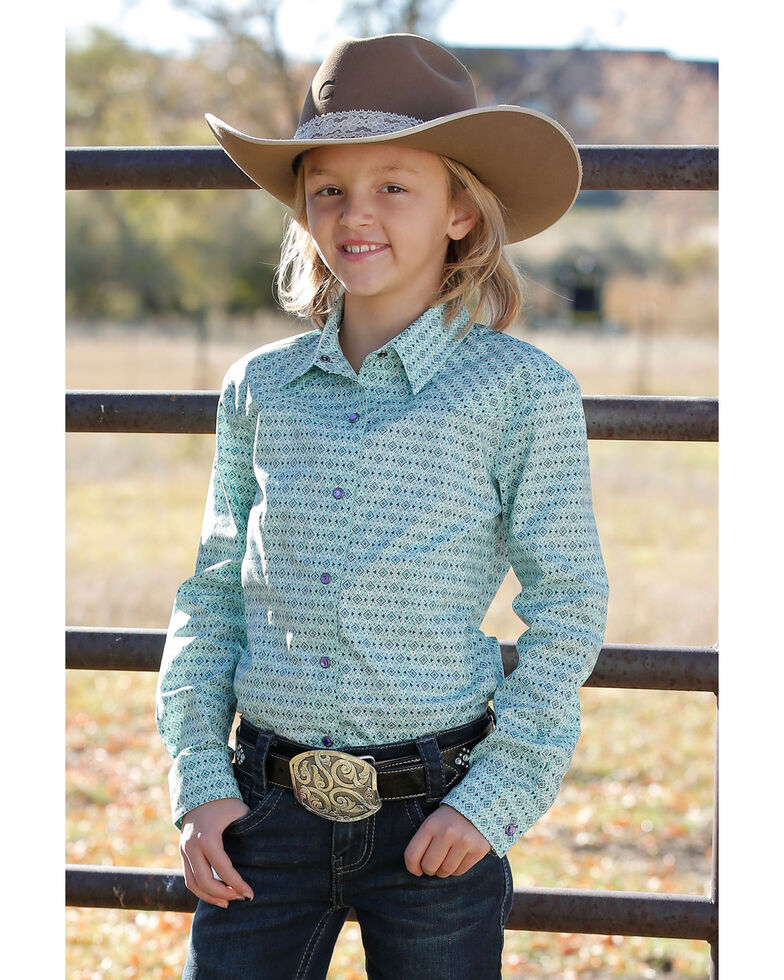 Cruel Girl Girls' Turquoise Print Button Long Sleeve Western Shirt, Turquoise, hi-res