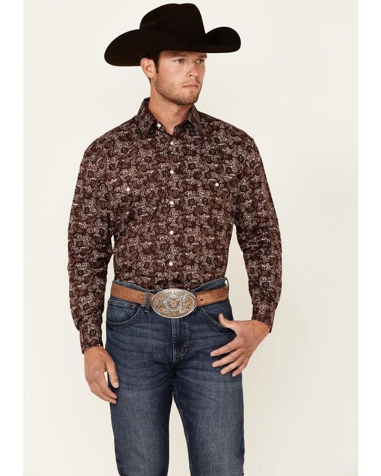 Rough Stock By Panhandle Men's Wine Floral Print Long Sleeve Snap Western Shirt , Wine, hi-res