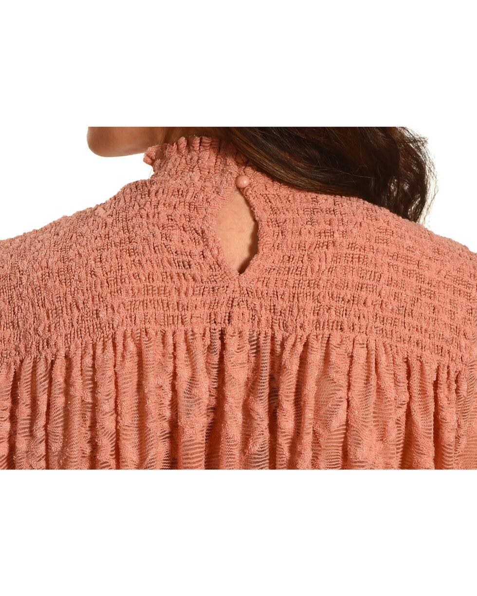 New Direction Sport Women's Mauve Ruched Lace Top , Mauve, hi-res