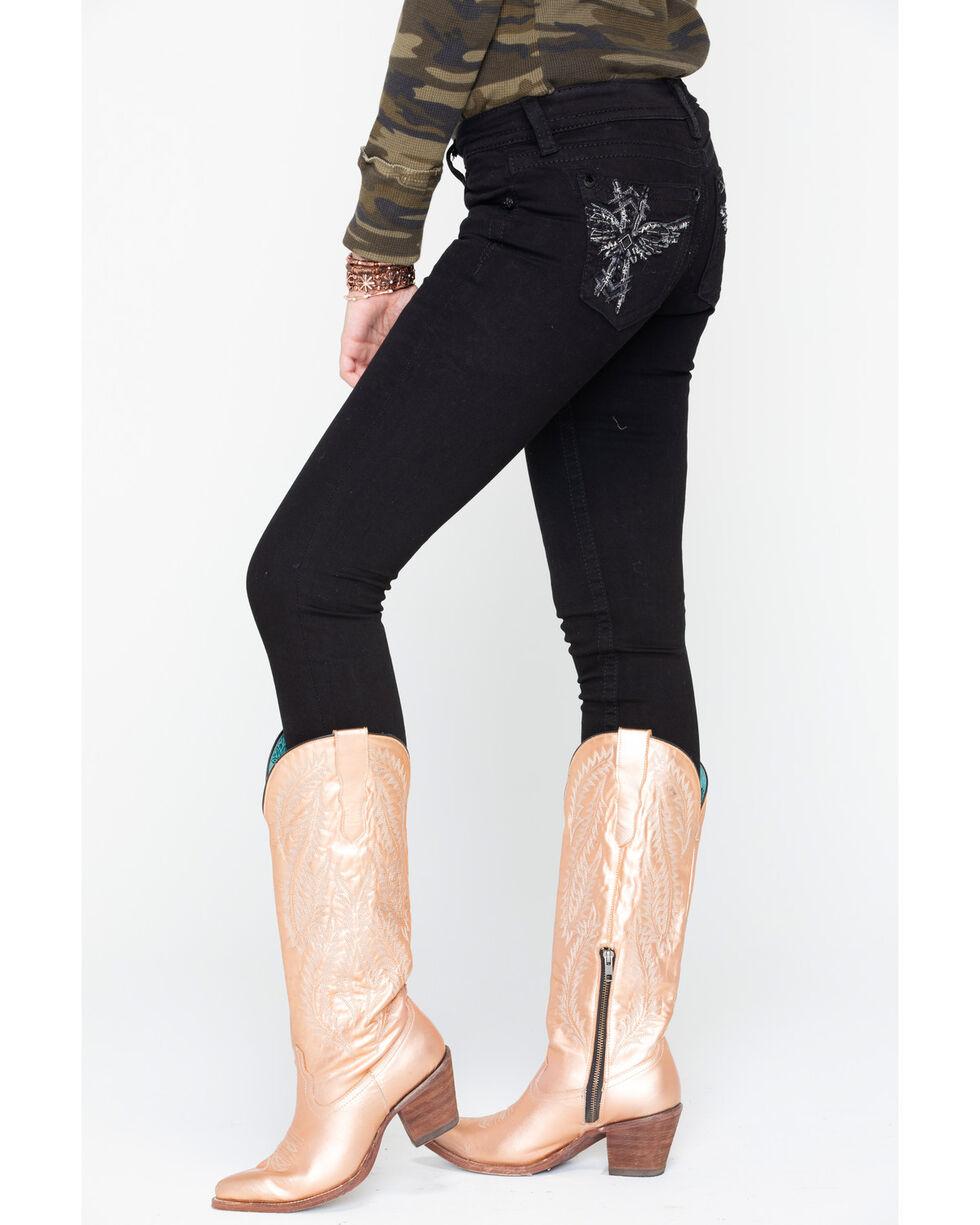 Miss Me Women's Wing Cross Skinny Jeans, Black, hi-res