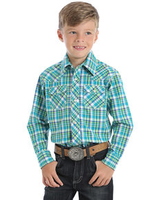 Wrangler 20X Boys' Plaid Advanced Comfort Long Sleeve Western Shirt , Blue, hi-res