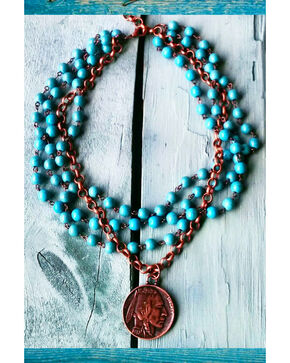 Jewelry Junkie Blue Turquoise Indian Head Coin Choker Necklace, Turquoise, hi-res