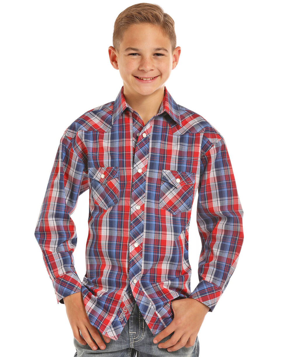Rock & Roll Cowboy Boys' Red Plaid Long Sleeve Snap Shirt, Red, hi-res