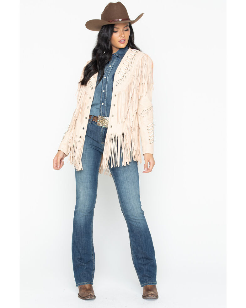Liberty Wear Studded Fringed Leather Jacket, Cream, hi-res