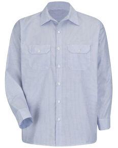 Red Kap Men's Deluxe Uniform Long Sleeve Work Shirt , Blue/white, hi-res