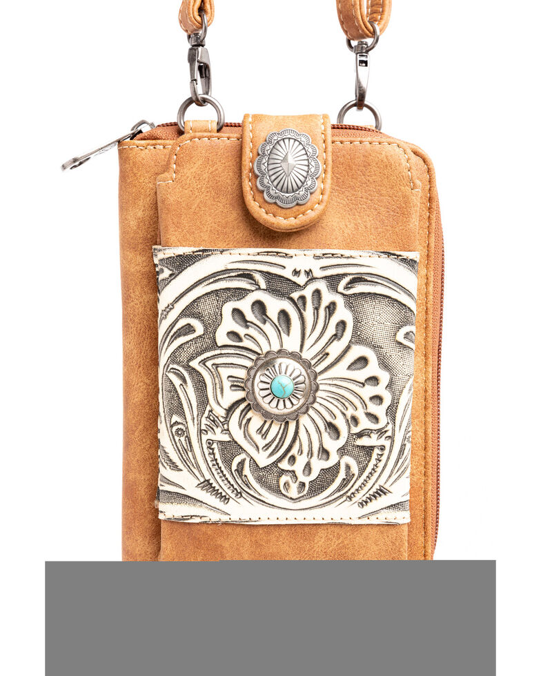 Shyanne Women's Tooled Leather Cell Phone Wallet, Brown, hi-res