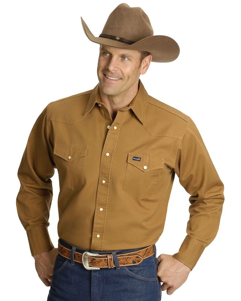 Wrangler Men's Cowboy Cut Work Western Shirts, Rawhide, hi-res