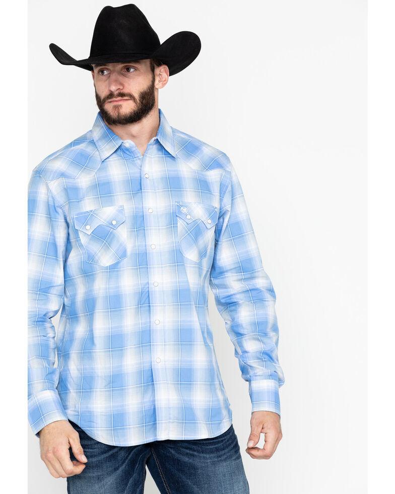 37a60e79 Zoomed Image Wrangler Retro Men's Plaid Long Sleeve Western Shirt - Tall ,  Blue, hi-res