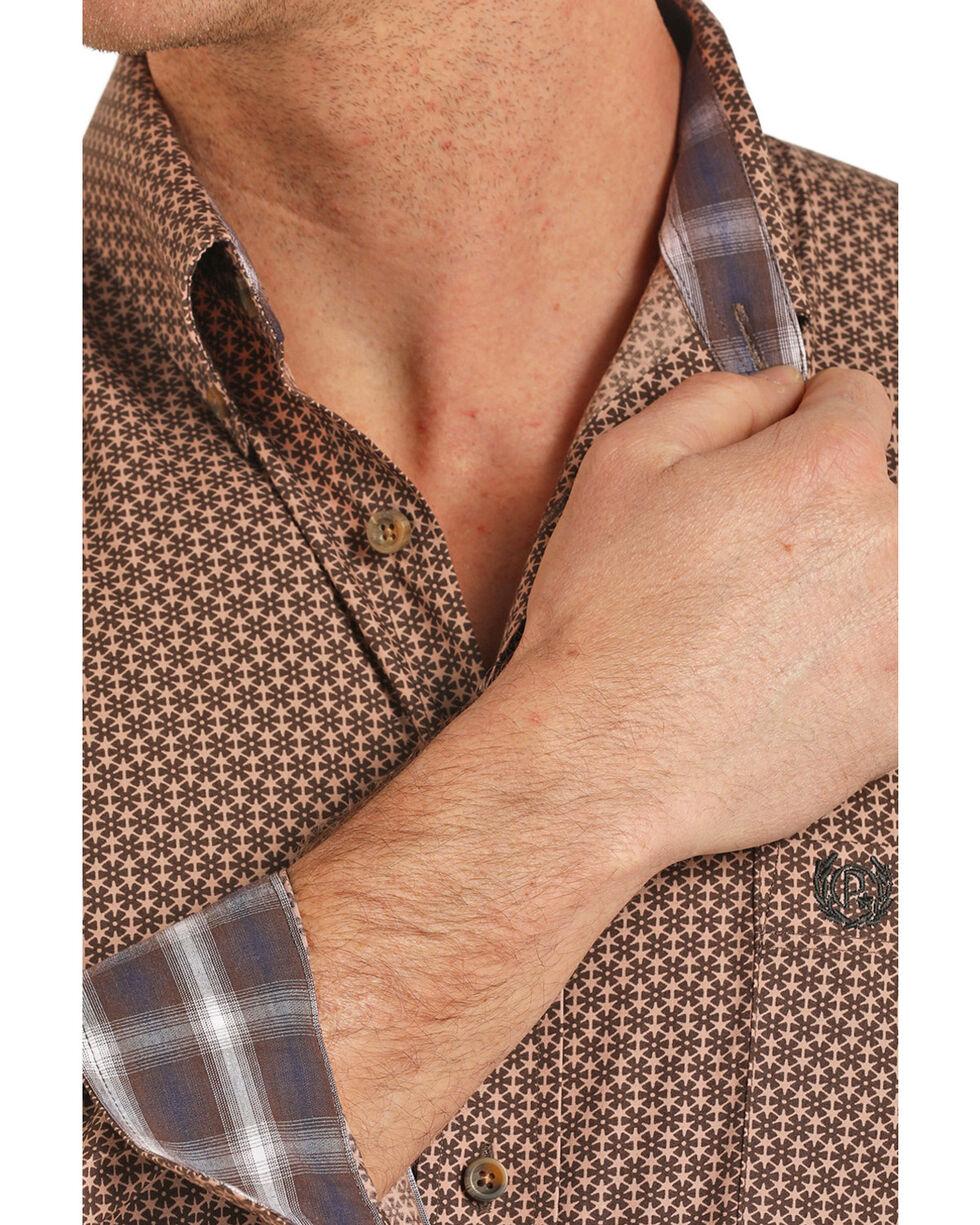 Panhandle Select Men's Peached Poplin Geo Print Long Sleeve Western Shirt , Brown, hi-res