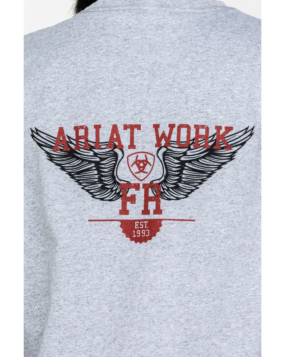 Ariat Men's FR Ascend Logo Crew Long Sleeve Work Shirt - Tall , Heather Grey, hi-res