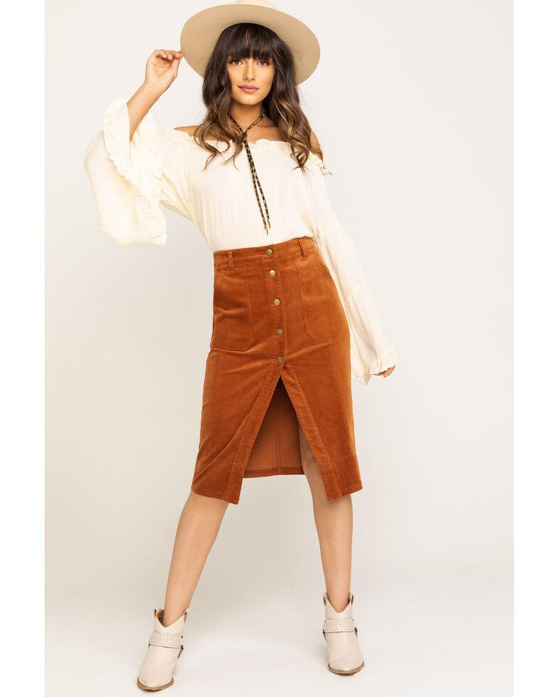 Others Follow Women's Brushed Corduroy Button Midi Skirt, Cognac, hi-res