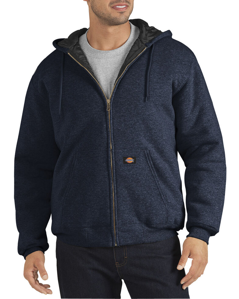 Dickie's Men's Heavyweight Quilted Fleece Hoodie, Navy, hi-res