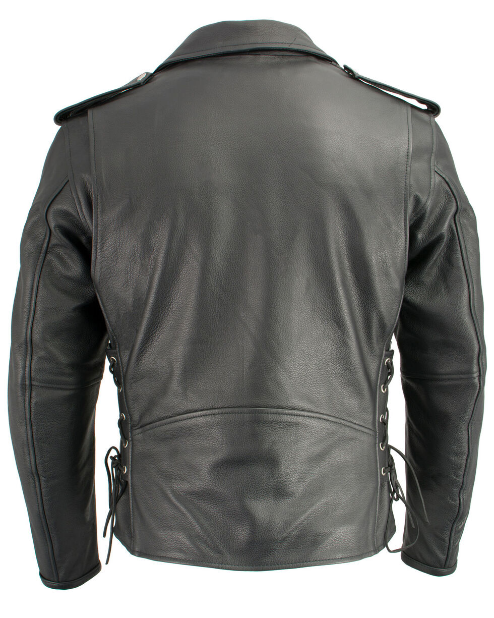 Milwaukee Leather Men's Classic Side Lace Concealed Carry Motorcycle Jacket - 4X, Black, hi-res