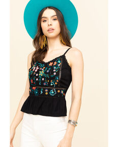 Shyanne Women's Black Floral Embroidered Fitted Cami, Black, hi-res