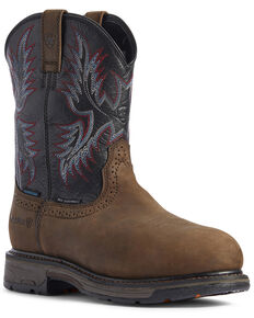 Ariat Men's Waterproof Workhog Western Work Boots - Composite Toe, Brown, hi-res