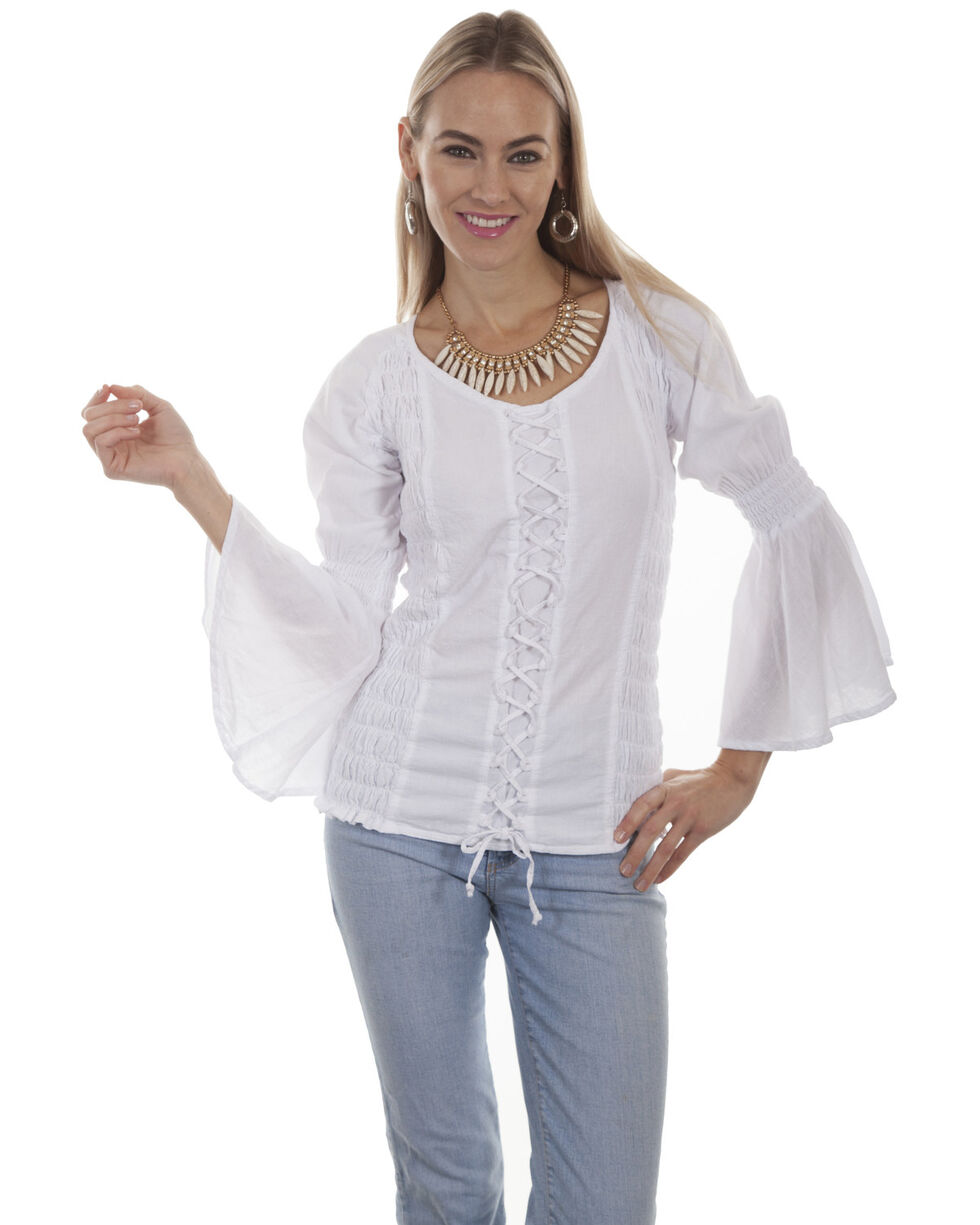 Cantina by Scully Women's White Lace Up Blouse, , hi-res
