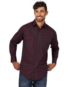 Wrangler Silver Edition Men's Small Plaid Long Sleeve Western Shirt , Red, hi-res