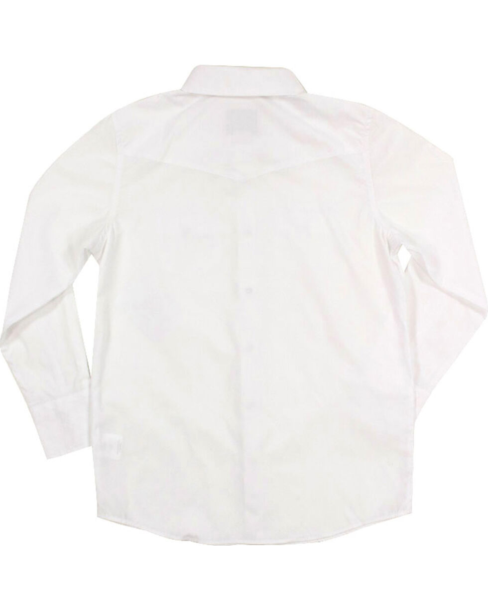 Gibson Boys' Solid Western Long Sleeve Shirt, White, hi-res