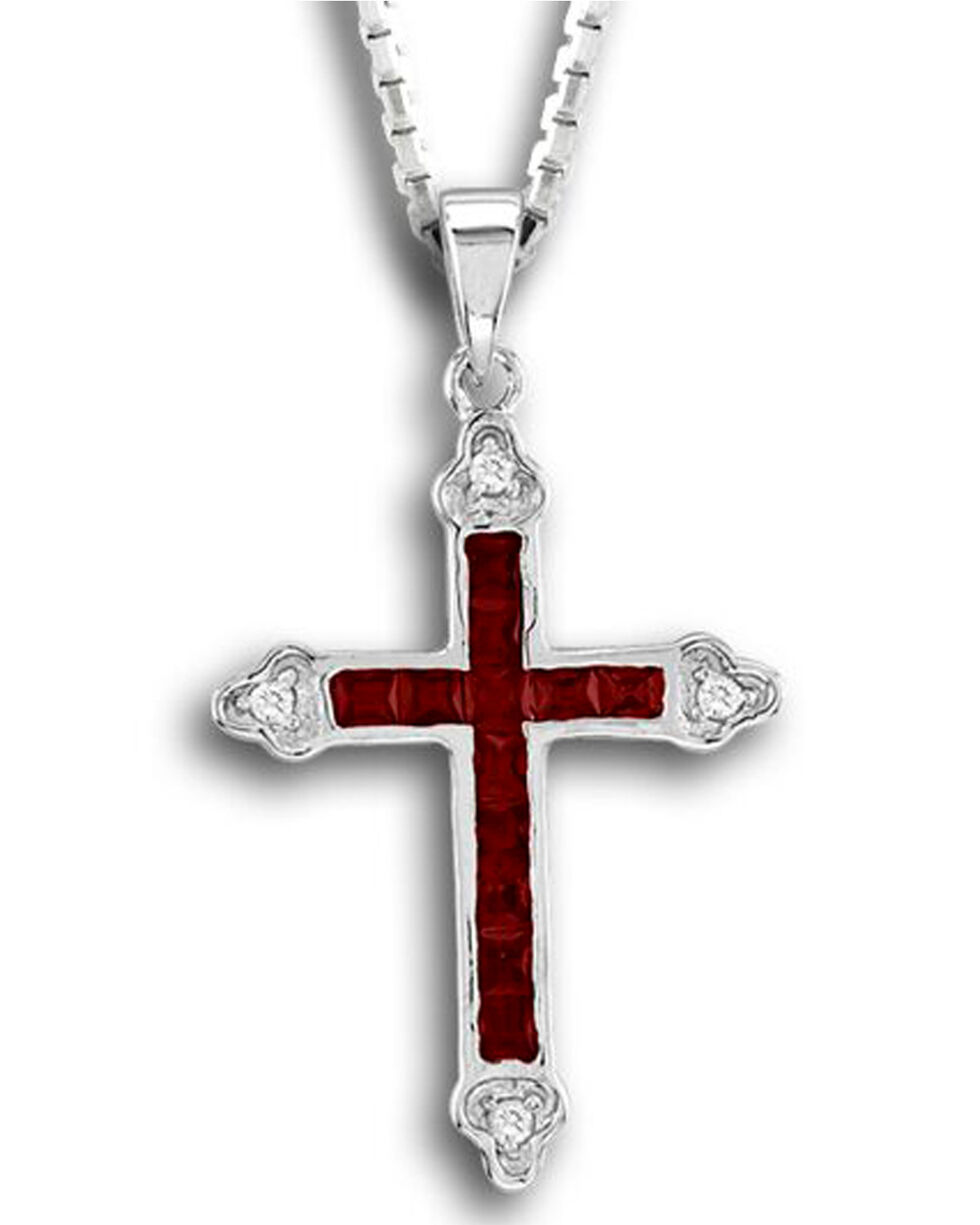 Kelly Herd Women's Red Cross Pendant Necklace , Red, hi-res