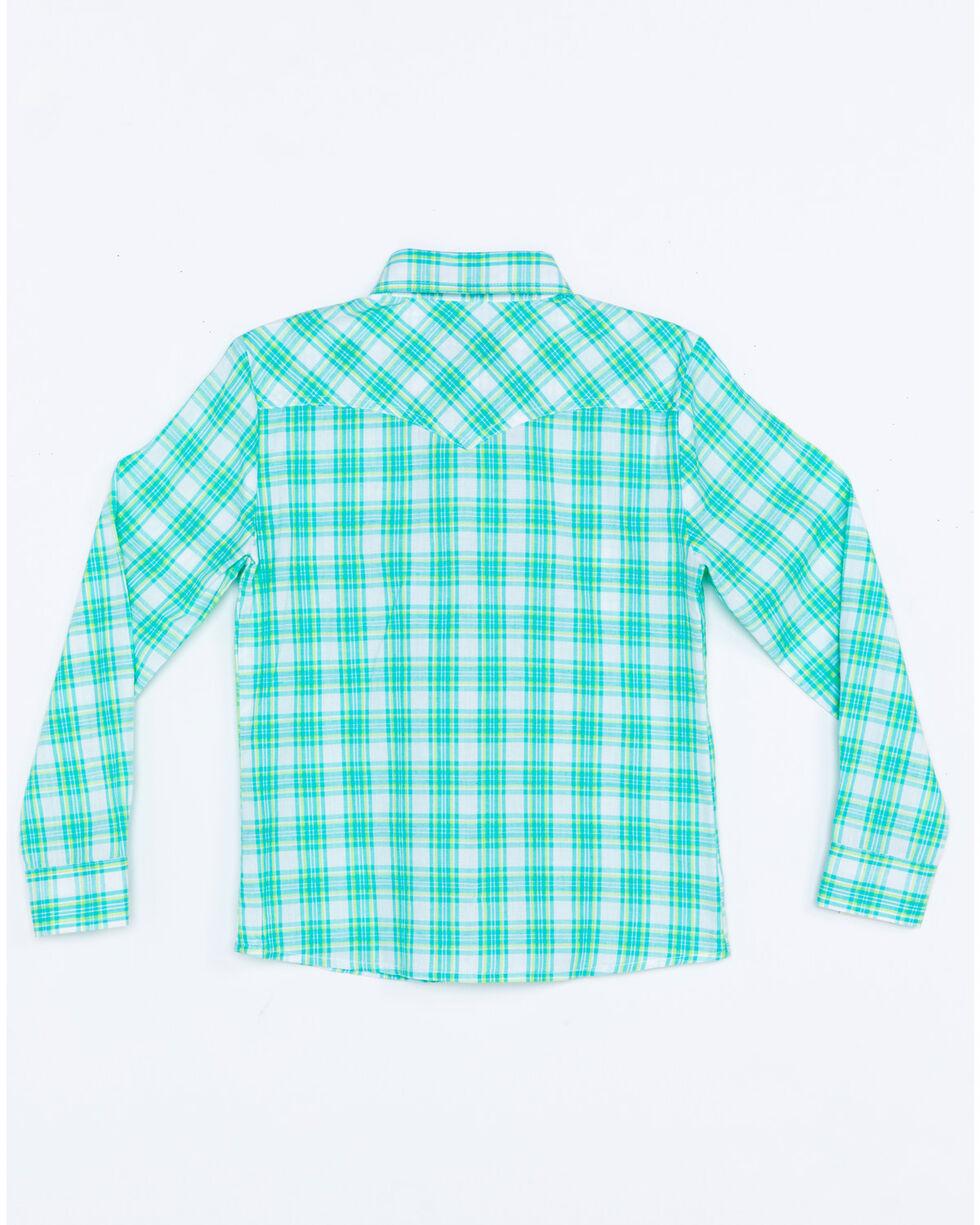 Panhandle Girls' Med Plaid Long Sleeve Western Shirt , Turquoise, hi-res