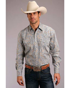 Stetson Men's Mirror Paisley Print Long Sleeve Western Shirt , Brown, hi-res
