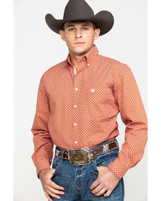 Rough Stock By Panhandle Men's Pinedale Vintage Geo Print Long Sleeve Western Shirt , Orange, hi-res