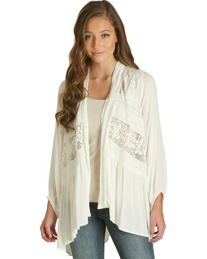 Wrangler Women's Ivory Lace Inset Cardigan, Ivory, hi-res