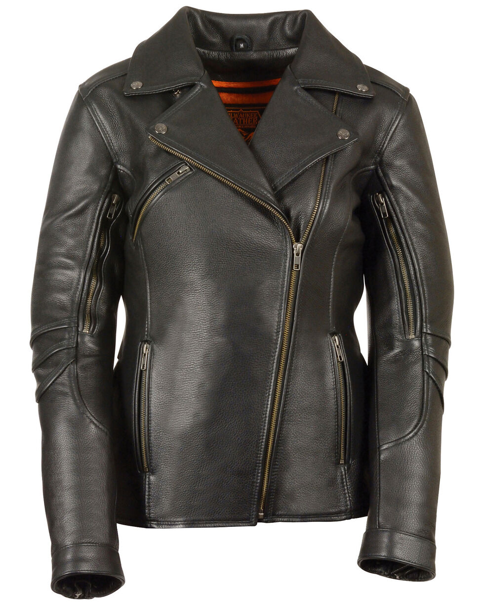 Milwaukee Leather Women's Long Length Vented Biker Jacket - 3X, Black, hi-res