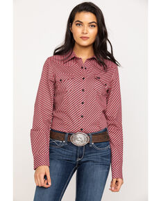 Cinch Women's Print Long Sleeve Western Shirt, Purple, hi-res