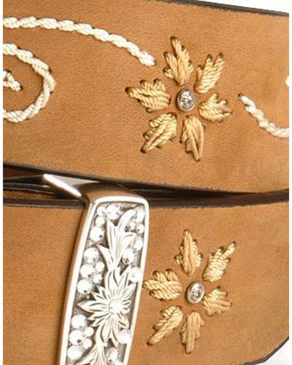 Nocona Women's Embroidered Floral Belt, Brown, hi-res