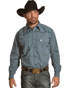 Cowboy Hardware Men's Maze Blue Print Long Sleeve Western Snap Shirt, Blue, hi-res