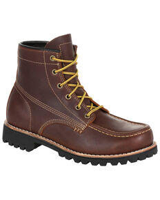 Georgia Boot Men's Brown Small Batch Work Boots - Soft Toe, Brown, hi-res