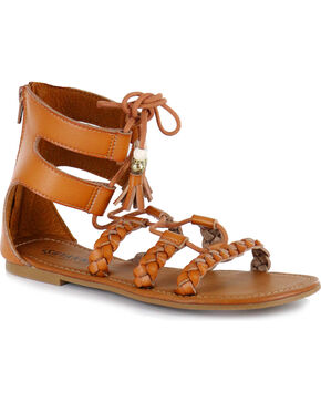 Shyanne® Women's Tassel Lace-Up Sandals, Tan, hi-res