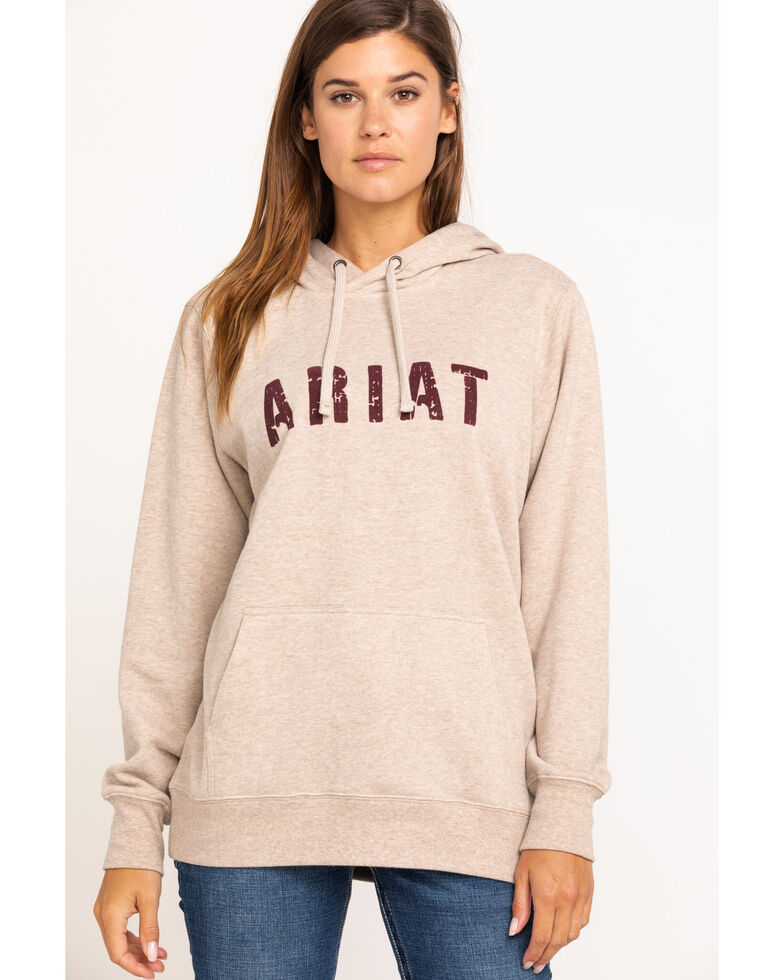Ariat Women's Oatmeal Berry Logo Hoodie, Oatmeal, hi-res