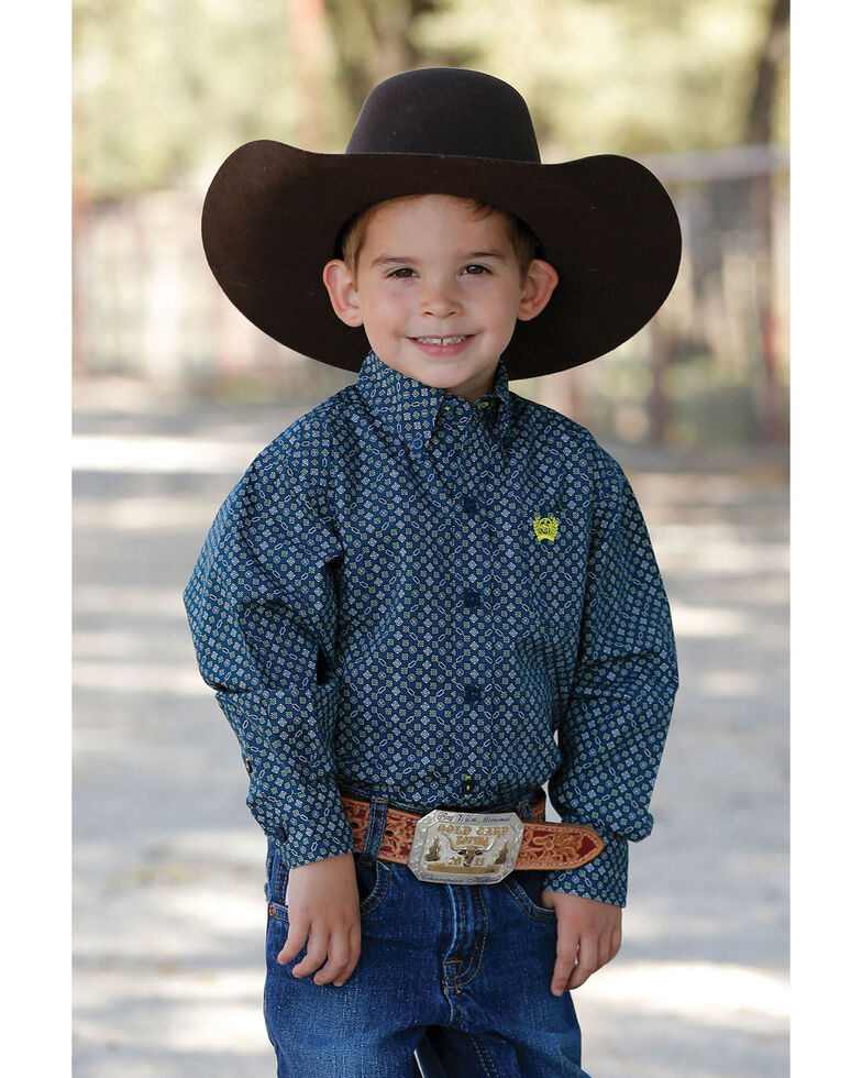 Cinch Toddler Boys' Blue Geo Print Long Sleeve Western Shirt , Blue, hi-res
